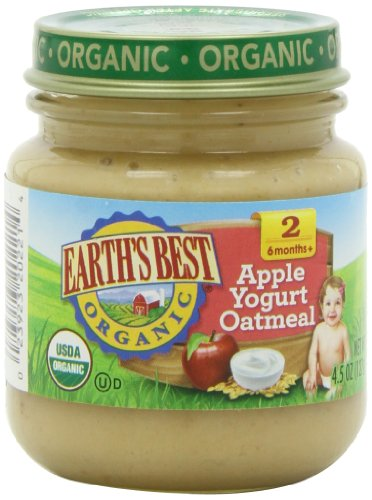 51kTsULWyUL Earths Best Organic 2nd Wholesome Breakfast, Apple Yogurt Oatmeal, 4.5 Ounce Jars (Pack of 12)