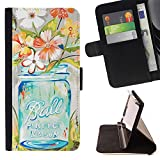 Momo Phone Case / Wallet Leather Case Cover With Card Slots - Flowers Vase Art Floral - Samsung Galaxy S5 V SM-G900