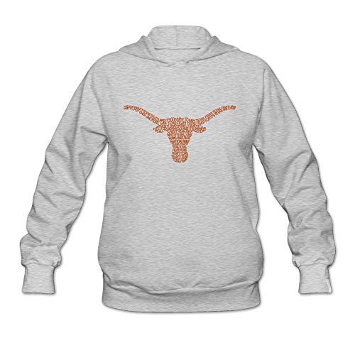 WXHW Women's Crew Sweatshirt Hoodie-University Of Texas Austin Mascot Horns Ash