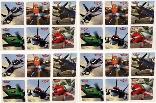"DISNEY PLANES STICKERS - Disney Planes Birthday Party Favor Sticker Set Consisting of 45 Stickers Featuring 6 Different Designs Measuring 2.5"" Per Sticker Featuring Dusty, El hupacabra, Bravo, Echo and More"