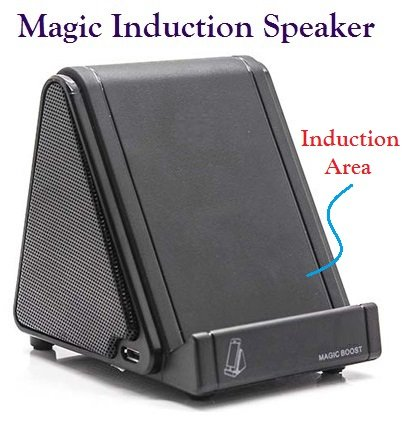Josi Minea® Universal Wireless Near Field Electromagnetic Induction Amplifier & Portable Magic Speaker With Rechargable Built-In Lithium Battery Providing Up To 30 Hours Of Play Time For Samsung Galaxy S5 / S4 / S3, Apple Iphone 5 / 5S / 5C / 4S / 4, Ipad