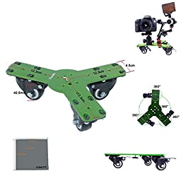 Fomito Tabletop Mobile Rolling Slider Dolly Car Skater Video Track Rail for DV DSLR Camcorder