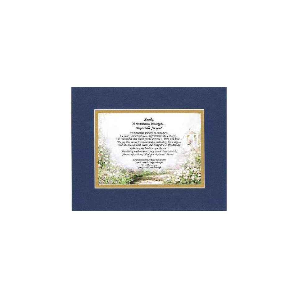 [Personalized Poem for Retirement] A Retirement Message Especially For You . . .Poem on 11 x 14 inches Double Beveled Matting (Blue On Gold)