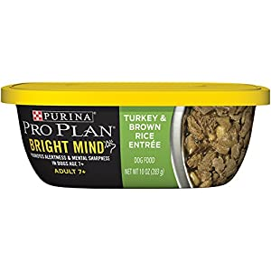 Purina Pro Plan Bright Mind Adult 7+ Turkey & Brown Rice Entree Dog Food, 10 Ounce Tub, Pack of 8