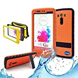 (Surprised) Lg G3 Waterproof Case (Gift for Screen Protect Film and Clean Cloth) Full-body Protective Case Waterproof Shockproof Dustproof Snowproof Case Cover 6.6 Ft Underwater Durable Full Sealed Protection Water Resistant Hard Shell Full-body Protective (Stand Feature) (3 Months Warranty) Case Cover for Lg G3 (Do Not Fit for Lg G3 Mini) (LG G3 XLJ orange)