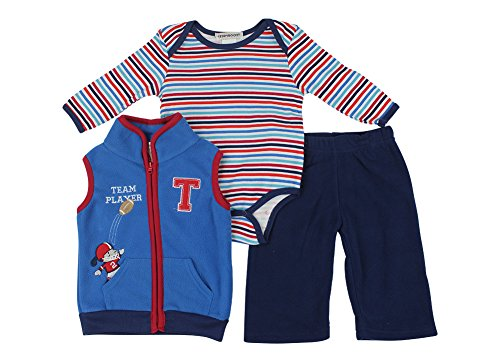 Alfa Global Baby-Boys Infant Three-Piece Micro-Fleece Set Blue 3-6 Months front-587700