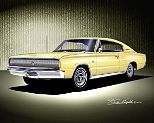 1966-1967 DODGE CHARGER yellow - ART PRINT POSTER BY ARTIST DANNY