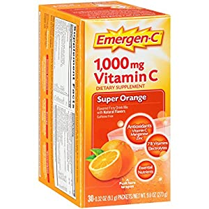Emergen-C Super Orange, 1000 mg of Vitamin C, 0.32 Ounce, 30-Count
