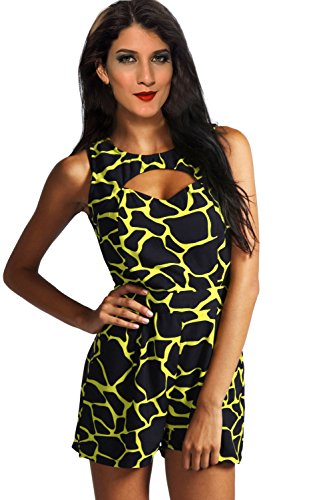 Sexy Cut Out Front Sleeveless Romper Clubwear Dresses Jumpsuits (L=Us M, Yellow + Black) front-618404