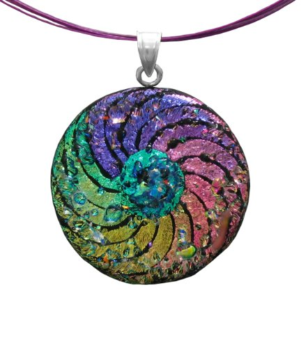 Sterling Silver Dichroic Glass Rainbow Swirl with Clear Glass Sprinkles Round Shape Pendant Necklace on Stainless Steel Wire, 18