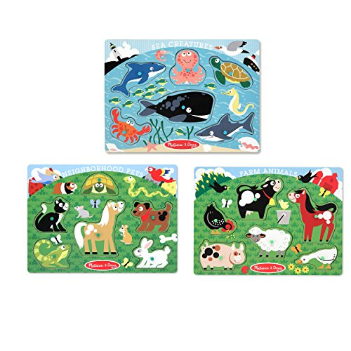 Melissa & Doug Peg Puzzle Animal Bundle