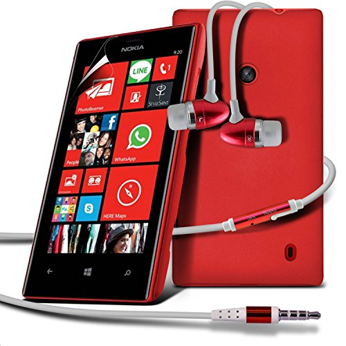 ( Red ) Nokia Lumia 520/525 Premium Hybrid Hard Back Shell Skin Case Cover With Lcd Screen Protector Guard & Aluminium In Ear Earbud Stereo Hands Free Earphone With Built In Mic & On-Off Button By Fone-Case