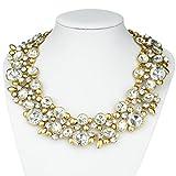 Btime Christmas Women Fashion Retro Design Unique Temperament Pendant Double-Layer Crystal Necklace(silver)
