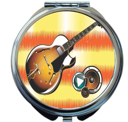 Rikki Knighttm Jammin Guitar On Orange Waves Design Round Compact Mirror