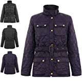 NEW WOMENS LADIES QUILTED PADDED BUTTON ZIP BELTED JACKET COAT TOP WARM ALL SIZE