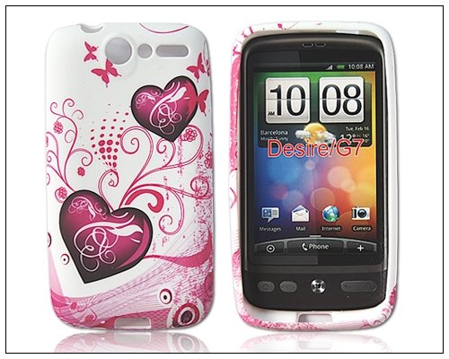 Popular Flower Silicone Case Cover for HTC Desire Bravo G7 Peach Heart