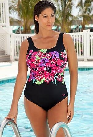 Aquabelle Chlorine Resistant! Tropical Plus Size Swimsuit Women's Swimwear - Multi - Size:18