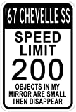 1967 67 CHEVY CHEVELLE SS Speed Limit Sign - 10 x 14 Inches