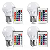 [4 Pack] LVJING RGB LED Light Bulb With Remote Control, 3W, 150LM, E27 Screw Base, 5050SMD, Color Changing, Perfect for Birthday Party / KTV Decoration / Home Use / Bar / Wedding (White)