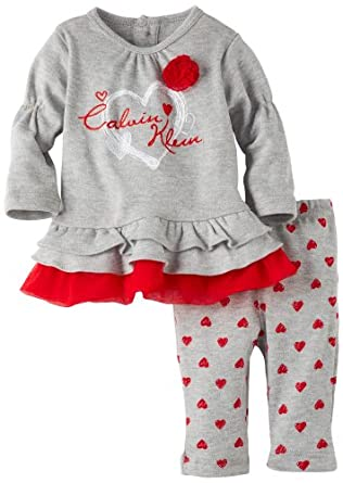 Calvin Klein Baby-girls Newborn Tunic and Leggings Set, Gray, 6-9 Months
