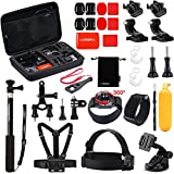 Luxebell-30-in-1-Outdoor-Sports-Accessories-Kit-for-Gopro-Hero-4-Session-Black-Silver-Hero-LCD-3-3-2-Camera-and-Sjcam-Sj4000-Sj5000-Chest-Mount-Harness-Head-Strap-Floating-Grip-Case