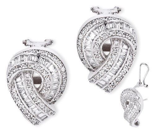 Cubic Zirconia Diamond Baguette Round Twist Bridal Earrings (Nice Holiday Gift, Special Black Firday Sale)
