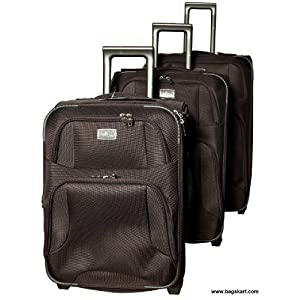 FlyLite TC-778 Brown Luggage Trolley Set Bag (Set of 3)