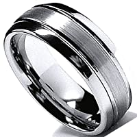 Tungsten Carbide Men's Ring Wedding Band 8MM (5/16 inch) Dome High Polish Matte Comfort Fit (Available in Sizes 8 to 12)