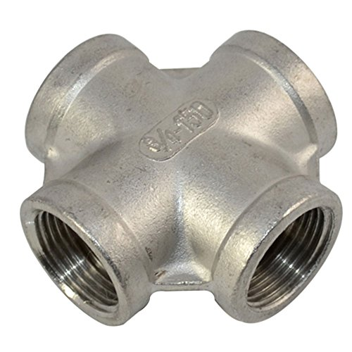 SuperWhole-34-Thread-4-Way-Female-Cross-Coupling-Connector-SS-304-Pipe-Fitting-NPT-NEW