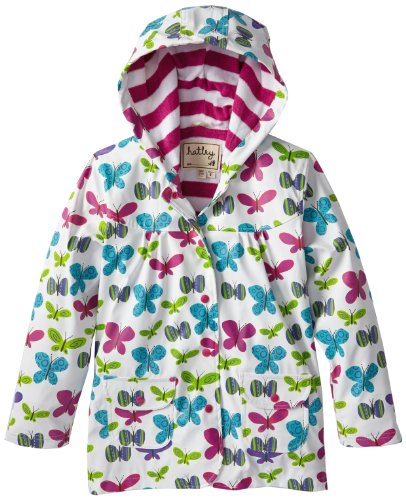 Hatley Little Girls' Raincoat Ditsy Butterflies, White, 2T front-948544