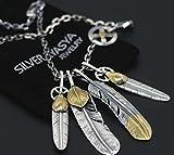 「silverKYASYA」シルバー925素材 上金ハートフェザー 先金特大フェザーネックレス 銀 燻し 太角チェーン使用