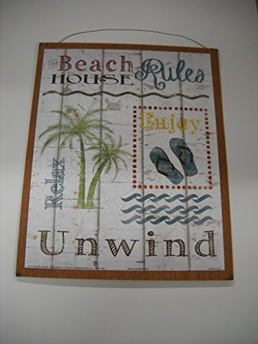 relax-unwind-beach-house-rules-palm-tree-flip-flops-wooden-tropical-coastal-wall-art-sign