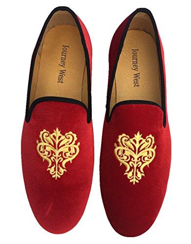 Mocassino da uomo stile Vintage, in velluto ricamato Noble-Scarpe da uomo a mocassino, Pantofole Smoking, colore: nero/rosso/blu, Rosso (rosso), 42.5
