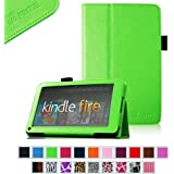 "FINTIE (Green) Slim Fit Folio Stand Leather Case for Amazon Kindle Fire 7"" Tablet -10 Color Options (does not fit Kindle Fire HD)"
