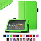 """FINTIE (Green) Slim Fit Folio Stand Leather Case for Amazon Kindle Fire 7"""" Tablet -10 Color Options (does not fit Kindle Fire HD)"""