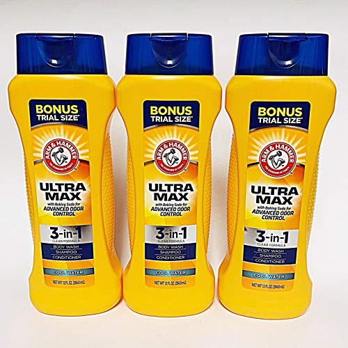 3 Arm & HAMMER Ultra Max 3-in-1 Shampoo Conditioner Body Wash Cool Water 12 oz.