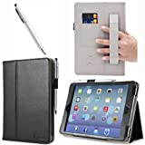 i-BLASON Apple iPad Mini / iPad mini with Retina Display Auto Wake / Sleep Smart Cover Leather Case (Elastic Hand Strap, Multi-Angle, Card Holder) With Bonus Stylus (Multi-Color to Choose From) 3 Year Warranty (Black)