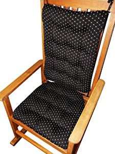 Rocking Chair Cushion Set - Tiffanie Black Diamond Brocade - Fits Size Extra-Large Rockers - Latex Foam Fill - Tufted Seat Cushion and Back Cushion - Reversible Chair Pad - Latex Foam Fill - Made in USA - Presidential by Barnett Products