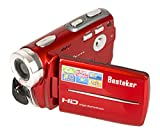 Camcorders, Besteker Portable Digital Video Camcorder HD Max 20.0 MP 1280*720P Camera DV 3.0 Inches TFT LCD Screen 16X Zoom and Microspur Video Recorder(109-Red)