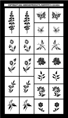 Rub Off Stencils : Armour etch stencil rub n mini flowers