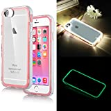 iPhone 6 Case,ULAK [Lumenair Series] LED Case iPhone 6 (4.7) Incoming Call Flash Hybrid Case Cover with (Transparent+White) PC Hard Back Case + Luminous Soft Bumper Frame Case For iPhone 6 (4.7 inch) (Pink)