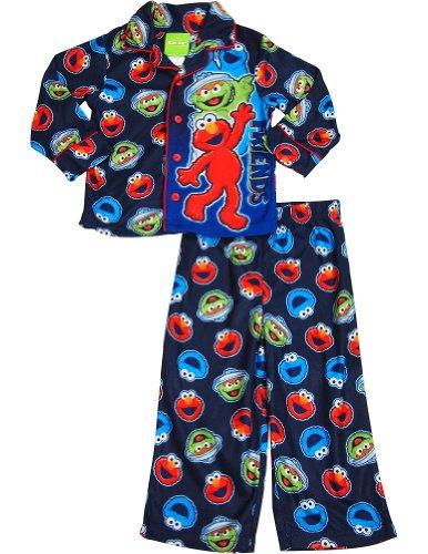 Sesame Street - Little Boys Long Sleeve Elmo Pajamas, Navy 33561-2T front-942632