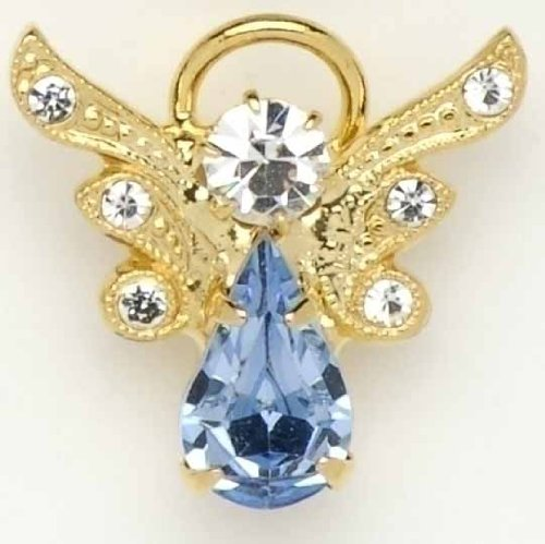 Pack of 8 December Birthstone Angel Pins with Pave Wings
