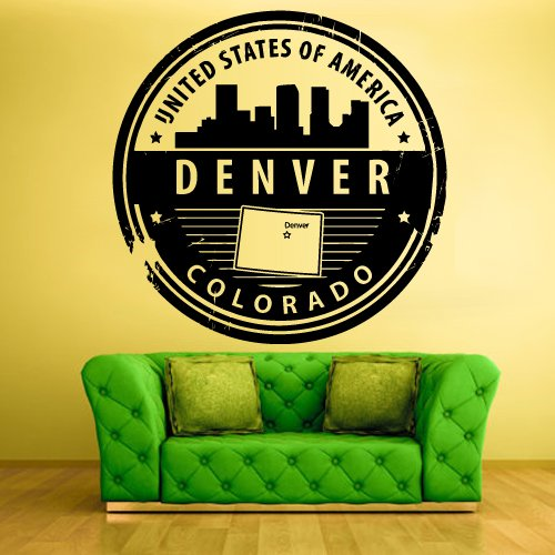 Wall Vinyl Sticker Decals Decor Art Bedroom Denver State Usa Stamp (Z1239) front-1046839