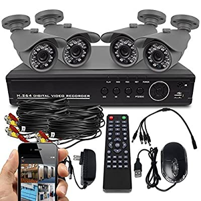 Best Vision Systems AHD 8CH 720P DVR Security System with 4 720P AHD IR Outdoor Bullet Cameras 1TB HDD Included