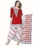 Meet Enterprise Red & White Cotton Dress Material