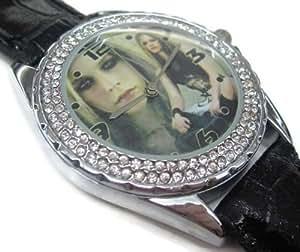 NEU Leder Herren Armbanduhren Geschenk valentine SUS114 New Leather 118 Diamond Crystal Watch A / Avril Lavigne