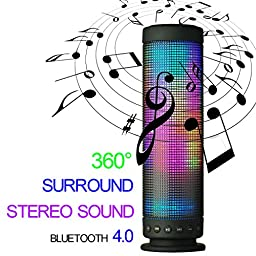 niceEshop(TM) Mini Wireless Portable Bluetooth Audio Speaker with Colorful Led Light (Black)