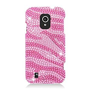 Eagle Cell ZTE Source N9511 Diamond Protector Case - Retail Packaging - Hot Pink Zebra