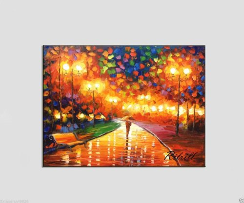 100% Hand-Painted Best-Selling Quality Goods Free Shipping Wood Framed On The Back Street View Knife Painting High Q. Wall Decor Landscape Oil Painting On Canvas 4Pcs/Set Mixorde